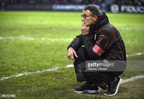 Toulouse's French head coach Guy Noves looks on during the European Rugby Union Champions Cup match between Toulouse and Bath on January 18 at the...