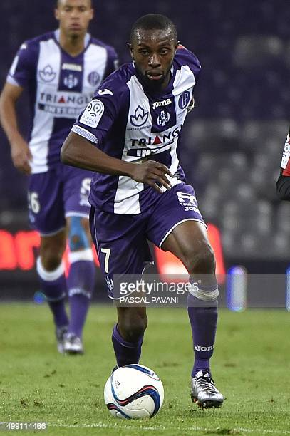 Toulouse's French Ivorian defender Jean AkpaAkpro during the French L1 football match Toulouse vs Nice on November 28 2015 at the Municipal Stadium...