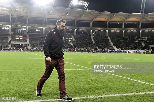 Toulouse's French manager Ugo Mola walks on the field during a warm up prior to the French Top 14 rugby union match between Toulouse and Toulon on...