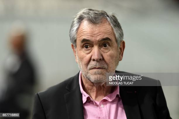 Toulouse's French president Rene Bouscatel looks on during the warm up during the French Top 14 rugby union match between BordeauxBegles and Toulouse...