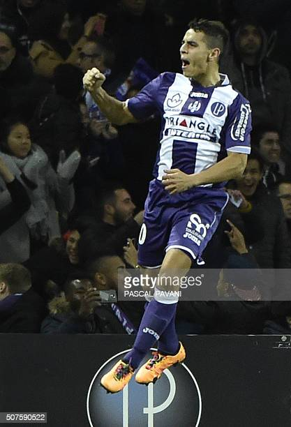 Toulouse's French Tunisian forward Wissam Ben Yedder celebrates after scoring a goal during the French L1 football match Guingamp on January 30 2016...
