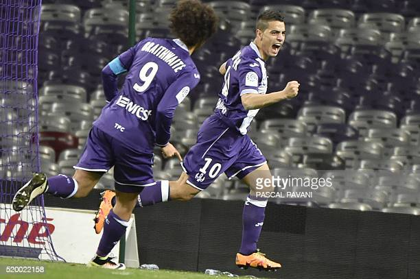 Toulouse's French Tunisian forward Wissam Ben Yedder celebrates after scoring a goal during the French L1 football match Bastia on April 09 2016 at...