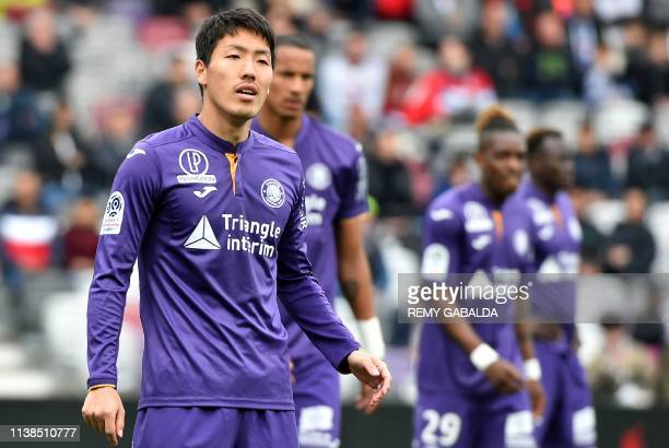 Toulouse's Japonese defender Gen Shoji looks on during the French L1 match between Toulouse and Lille on April 21 at the Municipal Stadium in...