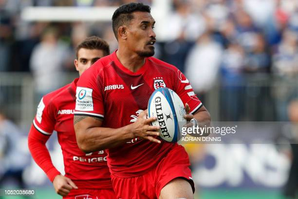 Toulouse's New Zealand number 8 Jerome Kaino makes a break during the European Rugby Champions Cup pool 1 rugby union match between Bath and Toulouse...