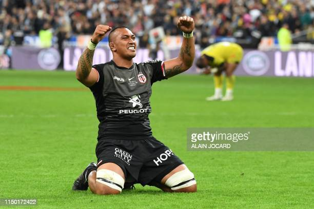 Toulouse's New Zealander lock Piula Faasalele celebrates his team's win of the French Top 14 final rugby union match between Stade Toulousain and ASM...