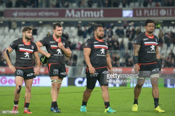 Toulouse's players react at the end of the French Top 14 rugby union match between BordeauxBegles and Toulouse on March 25 2017 at the Matmut...