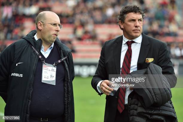 Toulouse's president Didier Lacroix and Commercial manager for Infront Sport and Media JeanFrancois Jeanne attend the French Top 14 rugby union match...
