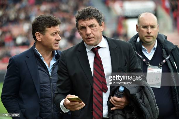Toulouse's president Didier Lacroix attends the French Top 14 rugby union match between Toulouse and BordeauxBegles at Ernest Wallon Stadium in...