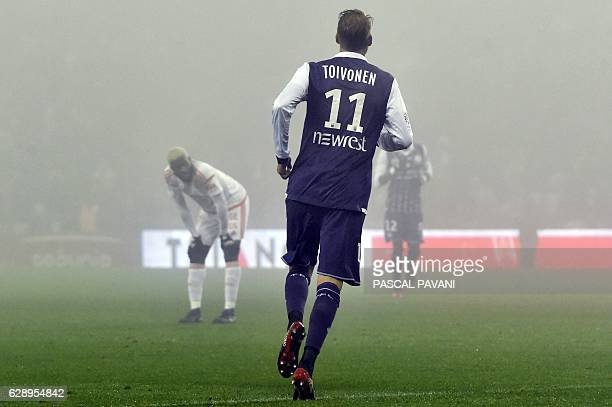 Toulouse's Swedish forward Ola Toivonen celebrates after scoring a goal during the French L1 football match between Toulouse and Lorient on December...