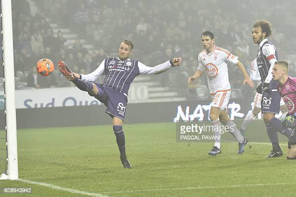Toulouse's Swedish forward Ola Toivonen scores a goal during the French L1 football match between Toulouse and Lorient December 10 2016 at the...