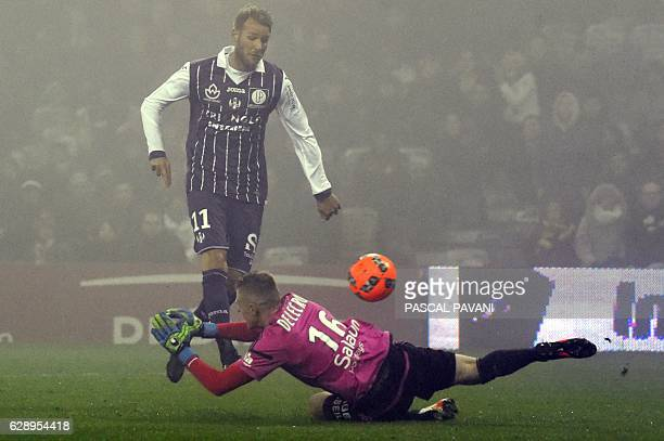 Toulouse's Swedish forward Ola Toivonen scores a goal during the French L1 football match between Toulouse and Lorient on December 10 2016 at the...