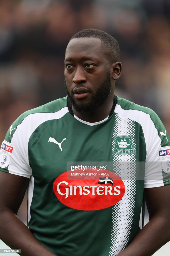 Toumani Diagouraga of Plymouth Argyle during the Sky Bet League One match between Plymouth Argyle and Shrewsbury Town at Home Park on October 14, 2017 in Plymouth, England. (Photo by Matthew Ashton - AMA/Getty Images