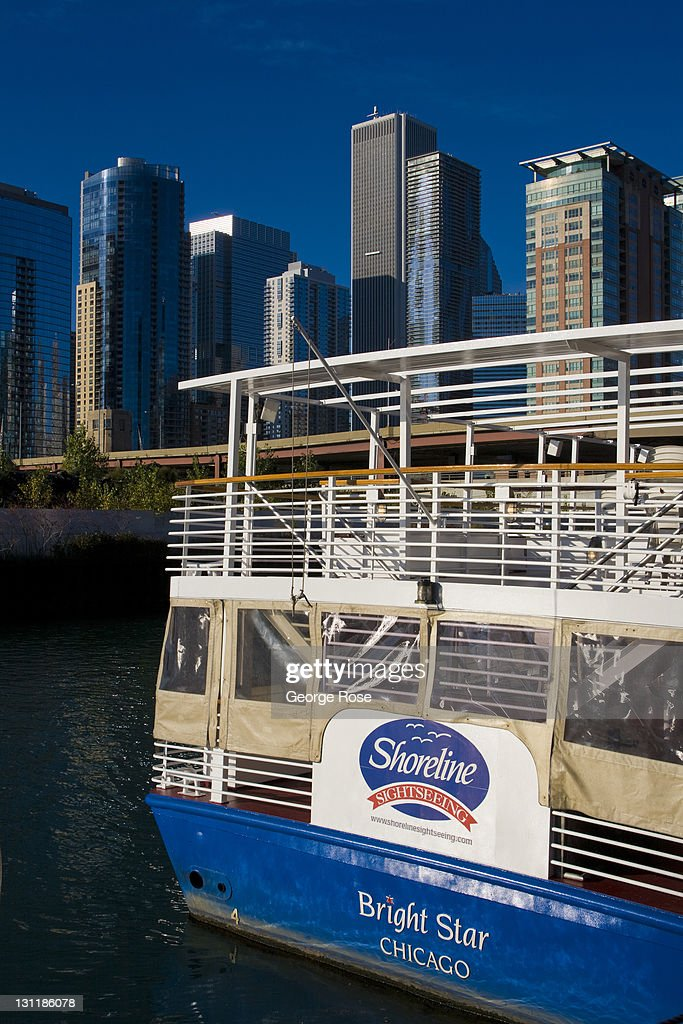 A Tour Boat At The Mouth Of The Chicago River Near Navy Pier