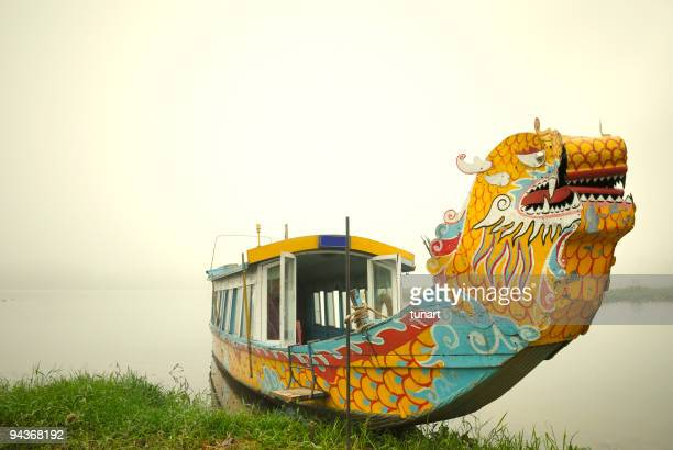 Tour Boat in Foggy Riverside, Perfume River, Hue, Vietnam