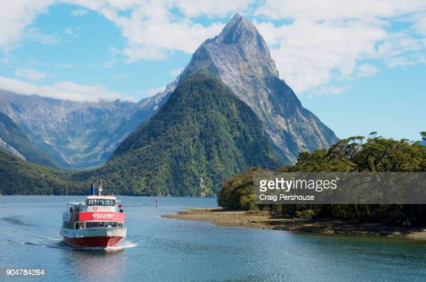 Tour boat in Milford Sound before Mitre Peak.