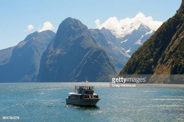 Tour boat in Milford Sound.