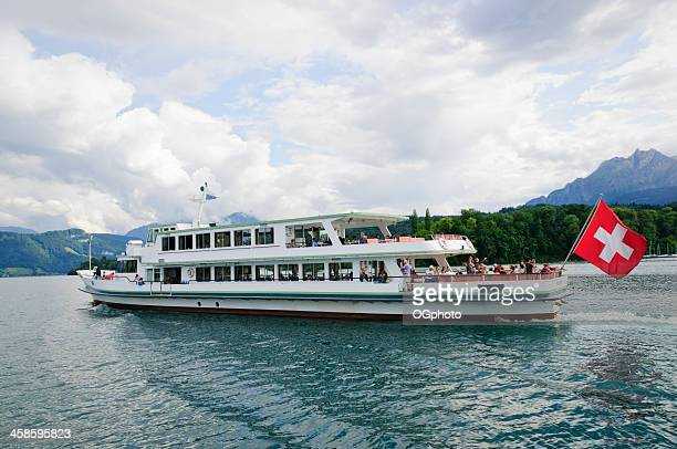 tour boat on lake lucerne switzerland. - ogphoto stock pictures, royalty-free photos & images