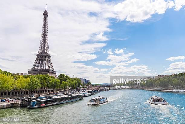 Tour boat on River Seine, Paris, France