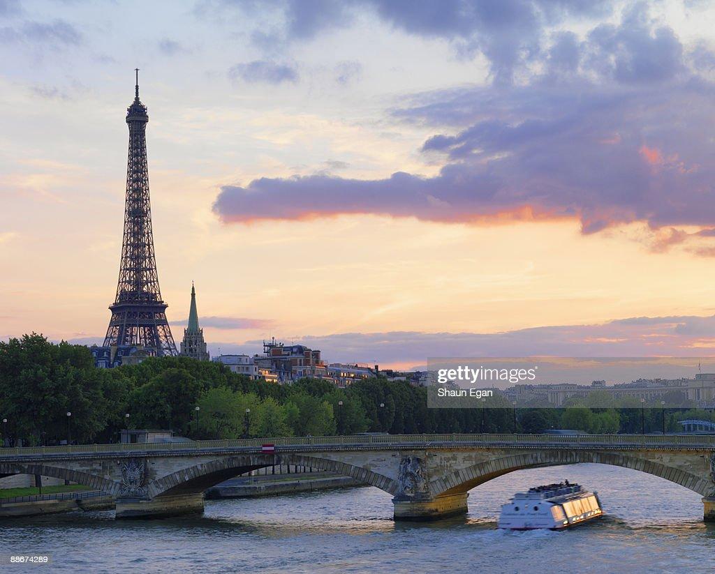 Tour boat on River Seine,Eiffel Tower : Stock Photo