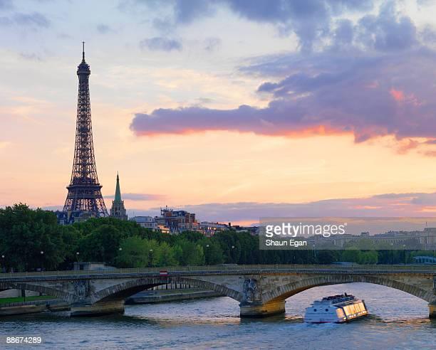 Tour boat on River Seine,Eiffel Tower