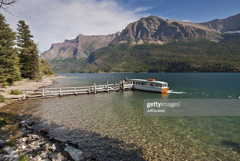 Tour Boat on Saint Mary Lake : Stock Photo