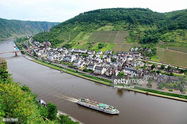 a tour boat on the rhine - moselle stock pictures, royalty-free photos & images