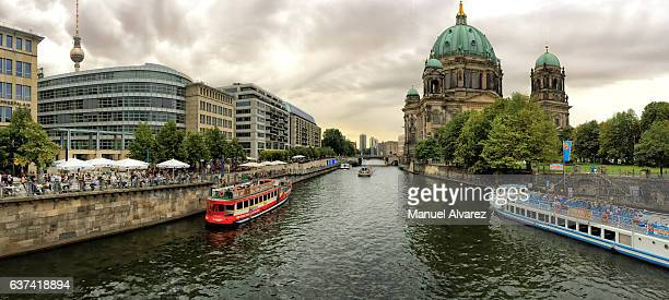 A tour boat on the Spree River