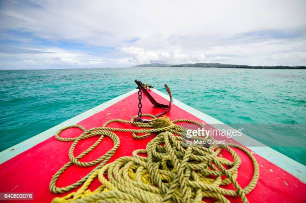 Tour boat over Buccoo Reef, Tobago, Trinidad & Tobago