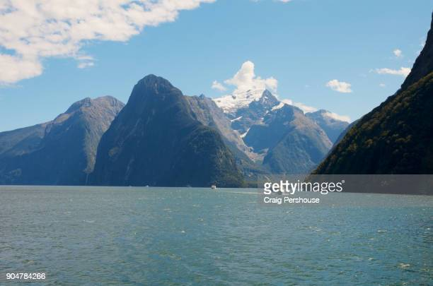 Tour boats in Milford Sound.