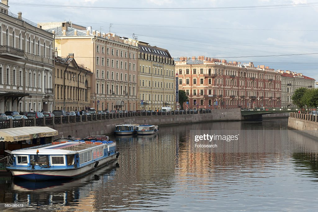 Tour boats in the Moyka River : Stock Photo