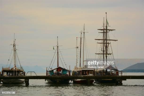 "tour boats on pier in paraty, rio de janeiro - ""markus daniel"" stock pictures, royalty-free photos & images"