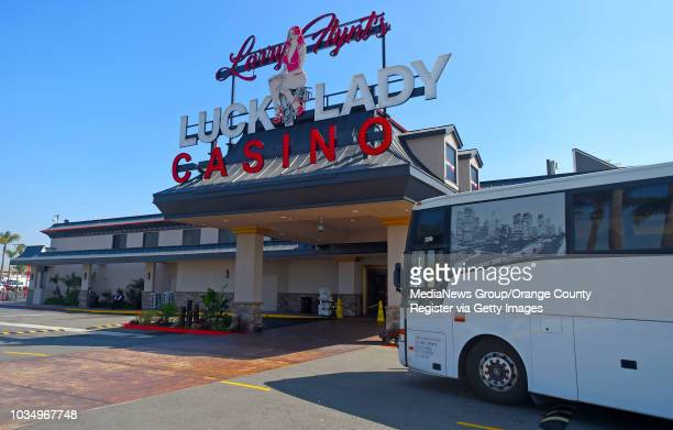 Tour bus loaded with gamblers pulls up to Larry Flynt's Lucky Lady Casino in Gardena, CA on Thursday, March 16, 2017. The casino, formerly the...