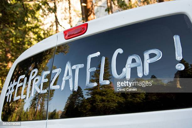 A tour bus with he hashtag #ElPREZATELCAP on June 18 2016 in Yosemite National Park California President Barack Obama spoke to a crowd at Yosemite...