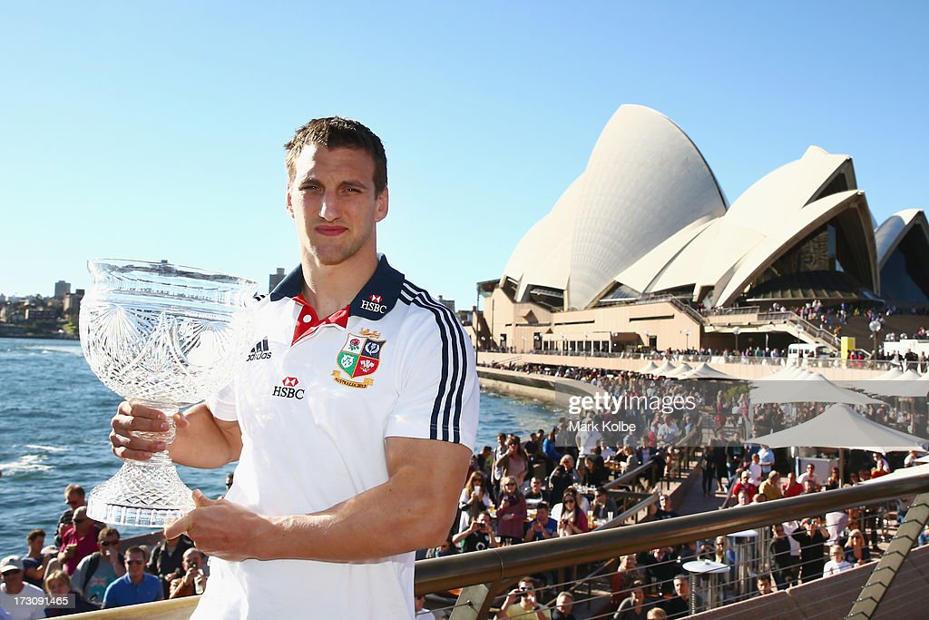 Tour captan Sam Warburton poses with the Tom Richards Cup at the Sydney Opera House during a British & Irish Lions media session at the Sydney Opera House on July 7, 2013 in Sydney, Australia.