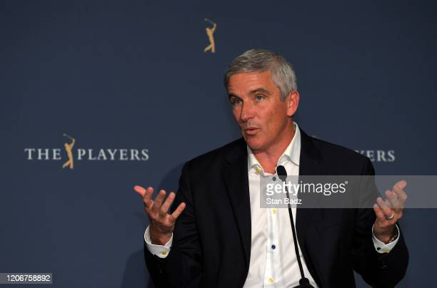 Tour Commissioner Jay Monahan addresses the media regarding the developing Corona Virus pandemic during the first round of THE PLAYERS Championship...
