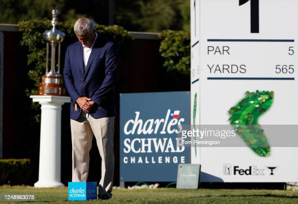 Tour Commissioner Jay Monahan leads a moment of silence to honor George Floyd during the first round of the Charles Schwab Challenge on June 11, 2020...
