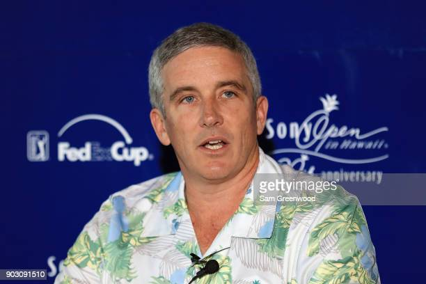 Tour commissioner Jay Monahan speaks at a press conference during practice rounds prior to the Sony Open In Hawaii at Waialae Country Club on January...