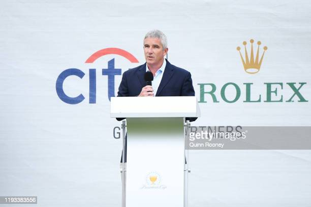 Tour commissioner Jay Monahan speaks during opening ceremonies prior to fourball matches on day one of the 2019 Presidents Cup at Royal Melbourne...