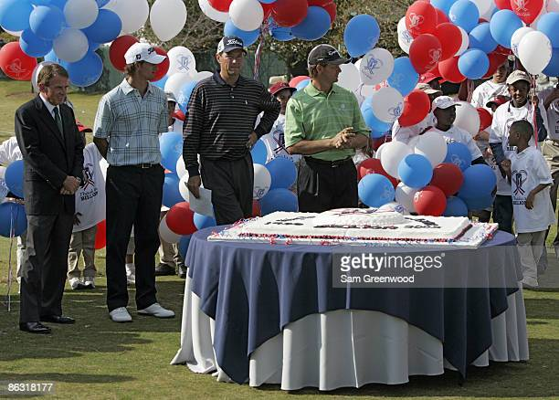 Tour commissioner Tim Finchem Adam Scott Davis Love III and Retief Goosen during the PGA Tour Thanks a Billion celebration at the East Lake Golf Club...
