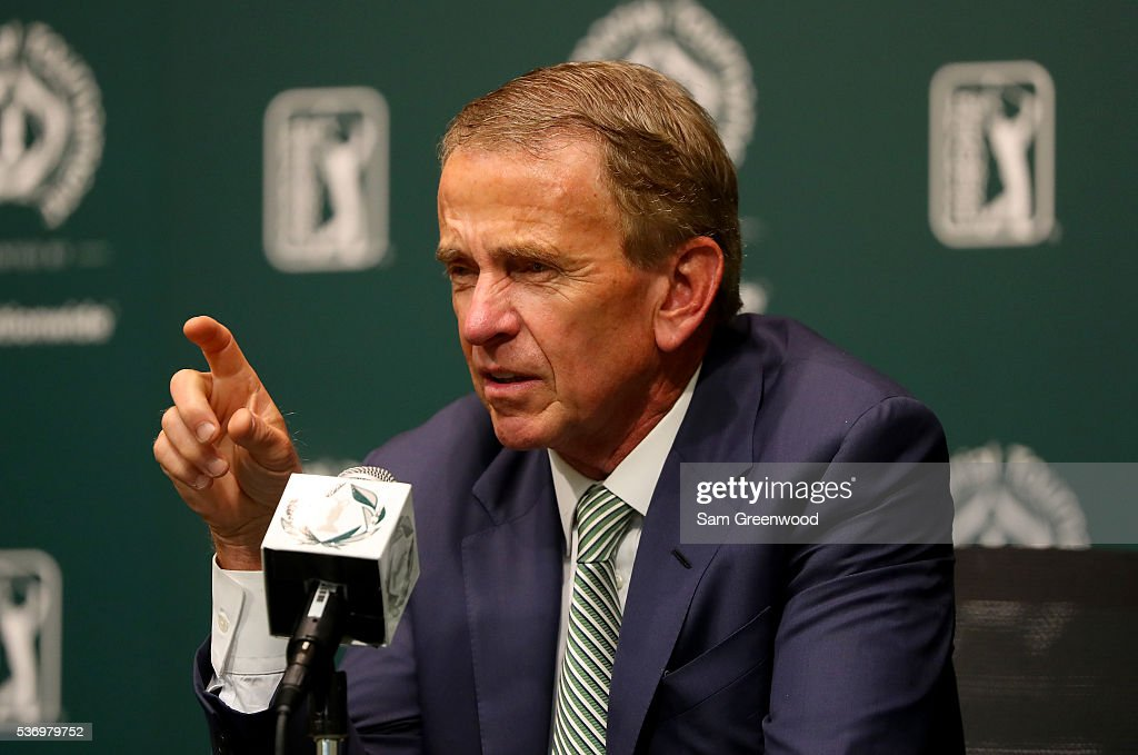 Tour commissioner Tim Finchem speaks to the media regarding the World Golf Championships-Mexico Championship at a press conference prior to The Memorial Tournament Presented By Nationwide at Muirfield Village Golf Club on June 1, 2016 in Dublin, Ohio.