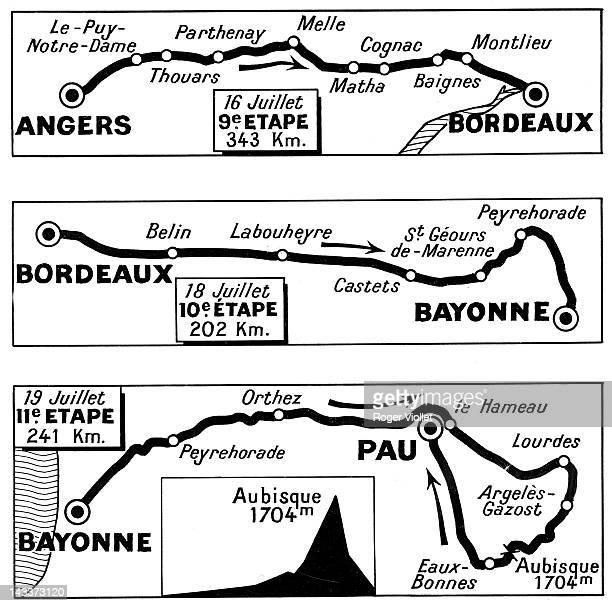 Tour de France 1954, 9th stage : Angers-Bordeaux, 343 km, 10th stage : Bordeaux-Bayonne, 202 km, 11th stage : Bayonne-Pau, 241 km.