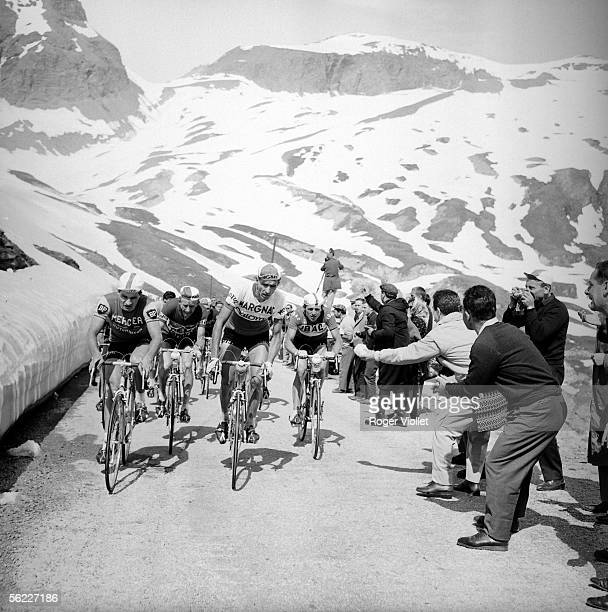 Tour de France 1963 Raymond Poulidor French racing cyclist and Federico Bahamontes Spanish racing cyclist leader in a stage of mountain RV411347