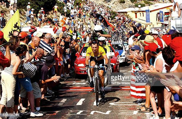 Tour de France 2002 Stage 14 America's Lance Armstrong tries to close the gap and catch up with the leade and is urged on by US fans in the crowd