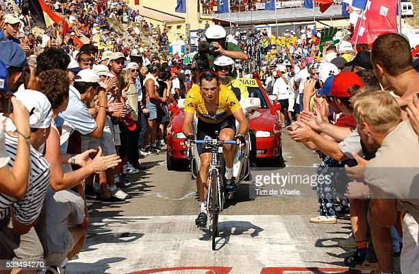 Tour de France 2002 Stage 14 America's Lance Armstrong tries to close the gap and catch up with the leader as he is urged on by Tour fans