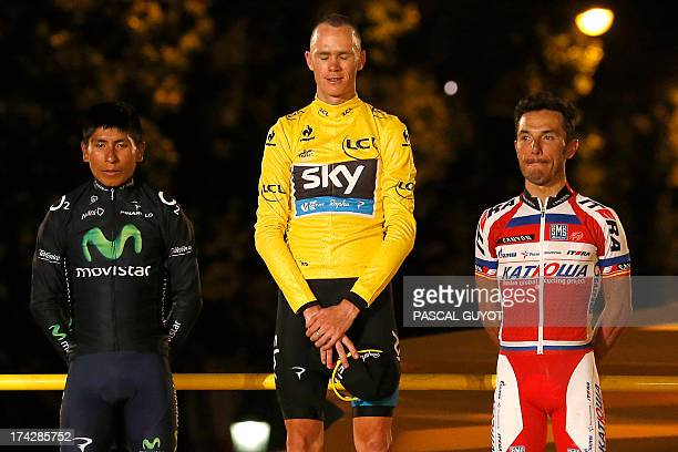 Tour de France 2013 winner Britain's Christopher Froome secondplaced in the overall standings and best climber's polka dot jersey Colombia's Nairo...