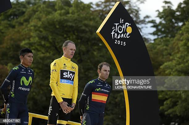 Tour de France 2015's winner Great Britain's Christopher Froome secondplaced Colombia's Nairo Quintana and thirdplaced Spain's Alejandro Valverde...