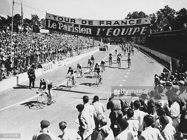 Tour De France Arrival Of The Cycling Bunch With Magni Leading At Albi In France