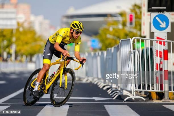 Tour de France champion Egan Bernal of Colombia competes during the Tour de France Shanghai Criterium cycle race in Shanghai on November 16, 2019. /...