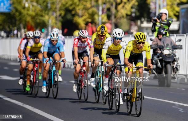 Tour de France champion Egan Bernal of Colombia leads a group during the Tour de France Shanghai Criterium cycle race in Shanghai on November 16 2019...
