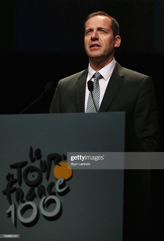 Tour de France Director Christian Prudhomme addresses the audience at the 2013 Tour de France Route Presentation at the Palais des Congres de Paris on October 24, 2012 in Paris, France.